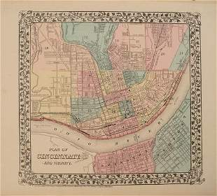 1876 Map of Cincinnati -- Plan of Cincinnati and