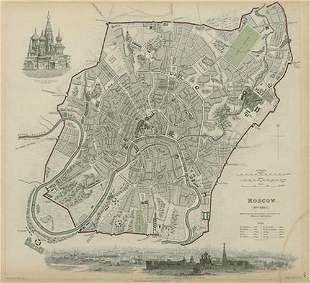 MOSCOW MOSKAU Antique city town map plan & panorama