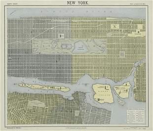 NEW YORK CITY town map plan. Lower/midtown Manhattan