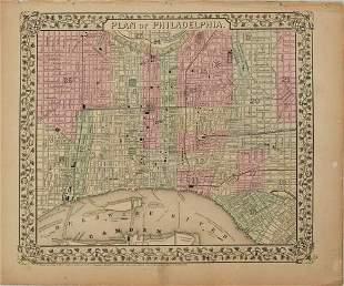 1870 Mitchell Map of Philadelphia -- Plan of