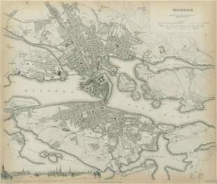 STOCKHOLM Antique city town map plan Inset panorama