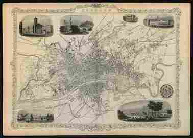 Decorative antique town plan of GLASGOW by Tallis,