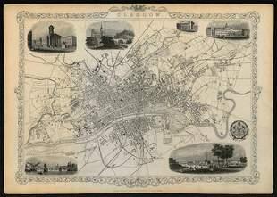 Decorative antique town plan of GLASGOW by Tallis,