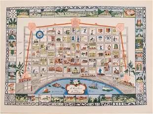 1942 Myra Z Barnes Map of French Quarter, New Orleans