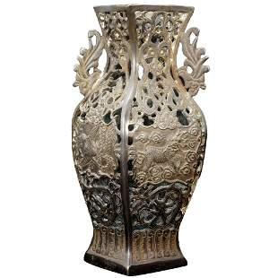 Chinese Republic Pierced Bronze Vase Mythical Beasts