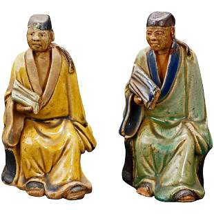 Pair Ceramic Chinese Shiwan Scholar Figures c 1930