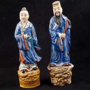 Pair Chinese porcelain immortal figures circa 1900