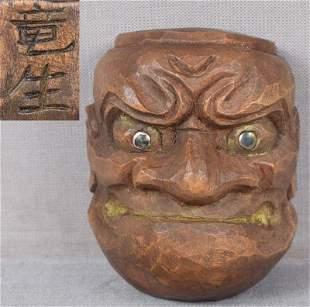 19c netsuke O-BESHIMI mask by RYOSEI