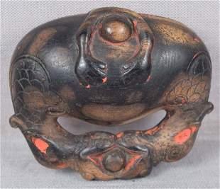 19c netsuke MONK asleep in Buddhist gong