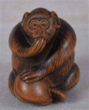 19c netsuke MONKEY with peach from FHC collection of