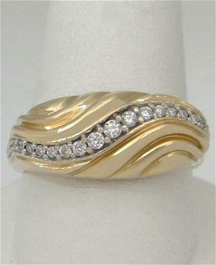 LADIES 14K YELLOW GOLD HIGH POLISH 1/4ct DIAMOND