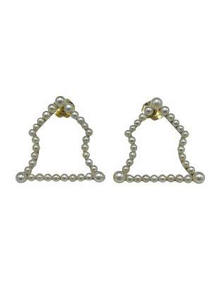 Antique Seed Pearl Bell-Shaped Earrings in Yellow Gold