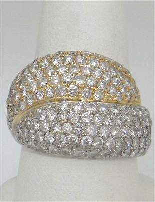 LADIES TWO TONE WHITE YELLOW GOLD 4.00ct DIAMOND DOUBLE