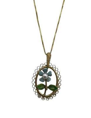 14 Karat Yellow Gold and Enameled Floral Necklace