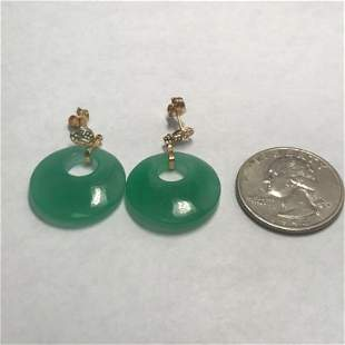 14k Jade Earrings Vintage 1980's 7.3g