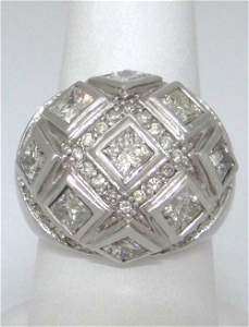 LADIES 14K WHITE GOLD 3.00ct DIAMOND WIDE BAND HEAVY