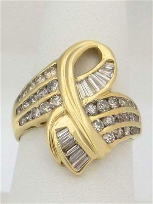 LADIES 14K YELLOW GOLD 1.00ct DIAMOND STATEMENT RIBBON