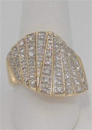 LADIES 14K YELLOW GOLD 1.00ct DIAMOND WAVE COCKTAIL