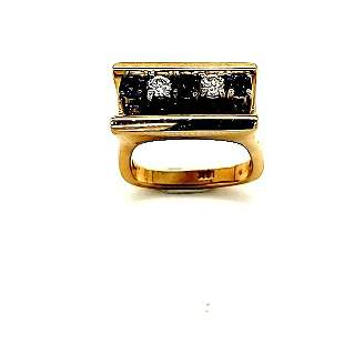14k Yellow Gold Sapphire & Diamond IGI Certified Ring