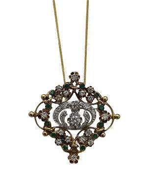 Art Nouveau Styled Emerald and Diamond Necklace