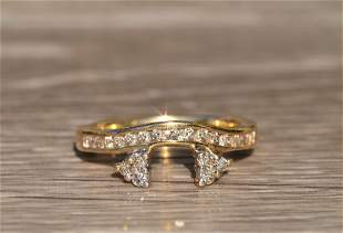 Ladies 14 K Gold and Diamond Curved Band Ring Guard