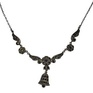 Art Deco Sterling Marcasite Bell Charm Necklace