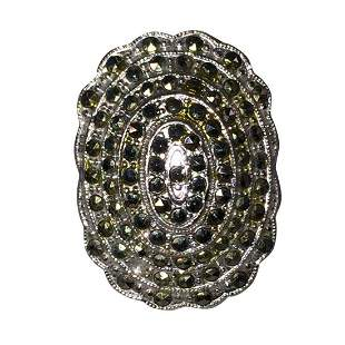 Art Deco Sterling Silver Dome Marcasite Pave Ring