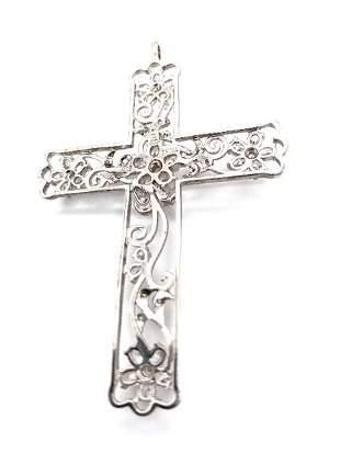 925 Silver & CZ Large Cross Pendant