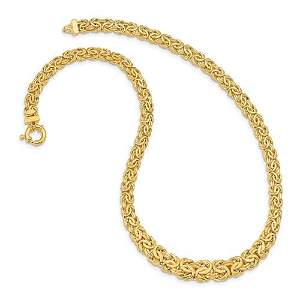 "Women's 14k Byzantine Necklace 7.5mm 17.5"" 17.8grams"