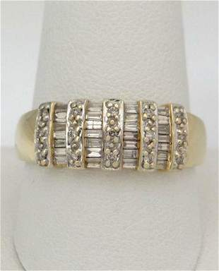 LADIES 14K YELLOW GOLD 1.00ct DIAMOND WIDE HIGH POLISH