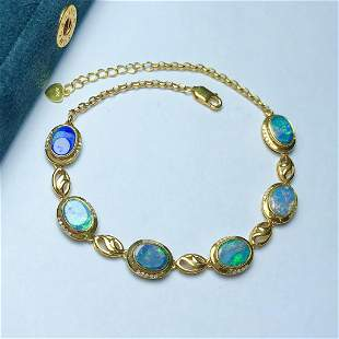 18K Yellow Gold 6.9ct Opal & Diamond Bracelet