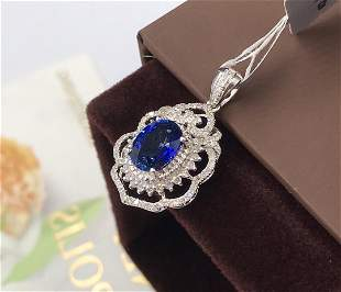 18K Yellow Gold 1.61ct Sapphire & Diamond Pendant