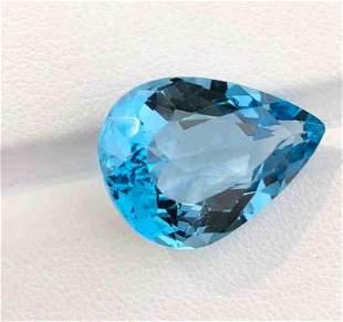 19 Carats Pear Cut Swiss Blu Topaz ~ 19x14x10 MM