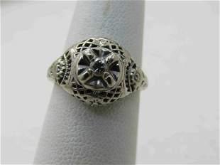 Vintage 14kt  Victorian Diamond Ring, Sz. 3.75-4.5,