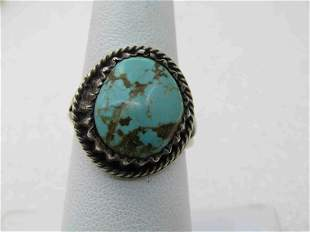Vintage Sterling Southwestern Turquoise Ring, Sz. 7.5,