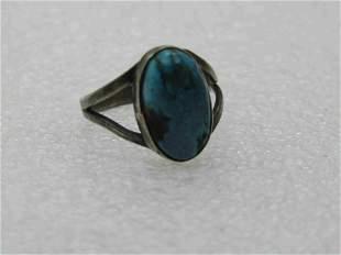 Vintage Southwestern Sterling Turquoise Ring, Sz. 5,
