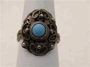 Vintage Southwestern Sterling Turquoise Ring, Sz. 7