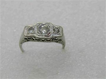 14kt Art Deco Triple Diamond Engagement Ring, Sz. 7.5,