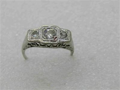 14kt Art Deco Triple Diamond Engagement Ring, Sz. 7.5,