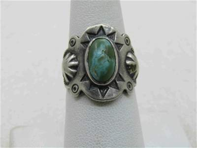 Vintage Sterling Southwestern Turquoise Ring, Open Back