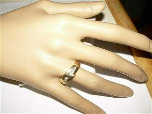 14kt Gold Unisex Diamond Ring - W/Solid Backward Z