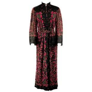 Vintage LEONARD Black and Pink Floral Maxi Dress w/