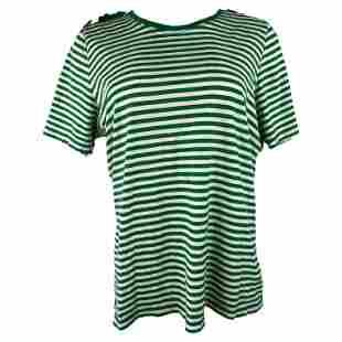 Royal Mer Bretange White and Green Striped T- Shirt,