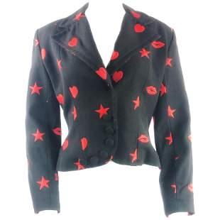 PATRICK KELLY Paris Black Blazer Jacket w/ Red Hearts,