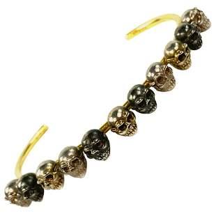 Delfina Delettrez Yellow Gold Scull Bangle Bracelet