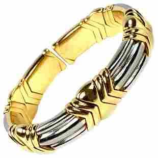 Bulgari Yellow and White Gold Cuff Bangle Bracelet