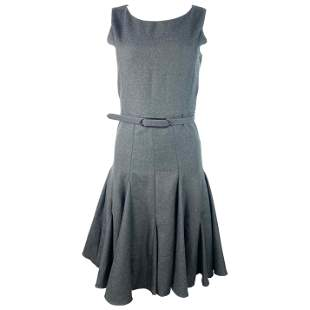 Runway Oscar De La Renta Grey Wool Sleeveless Dress,