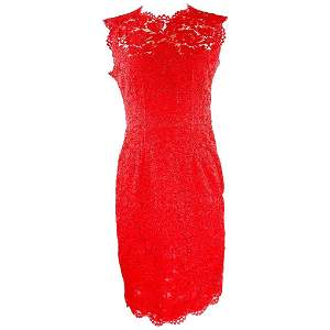 Red VALENTINO Floral Lace Sleeveless Midi Dress Size
