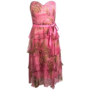 OSCAR DE LA RENTA Sleeveless Pink Midi Dress w/ Belt