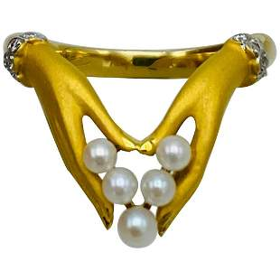 Vintage Carrera y Carrera Yellow Gold, Pearl and